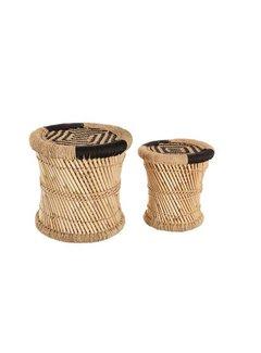 Bijzettafels Bijzettafels van Bamboe & hennep -  Naturel & Black