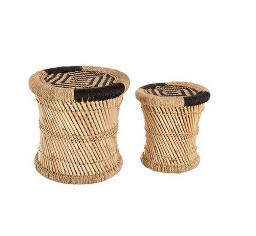 Bijzettafels krukjes van Bamboe & hennep -  Naturel & Black