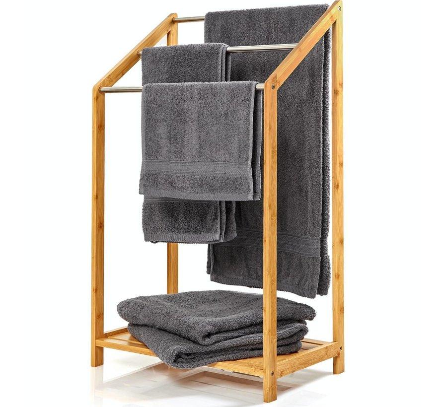 Handdoekhouder met metalen stutten & plank - 85x51x31cm