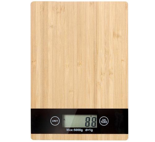 Weegschalen Bamboe LCD digitaal keukenweegschaal tot 5 kg - inclusief 2 x AAA  batterij