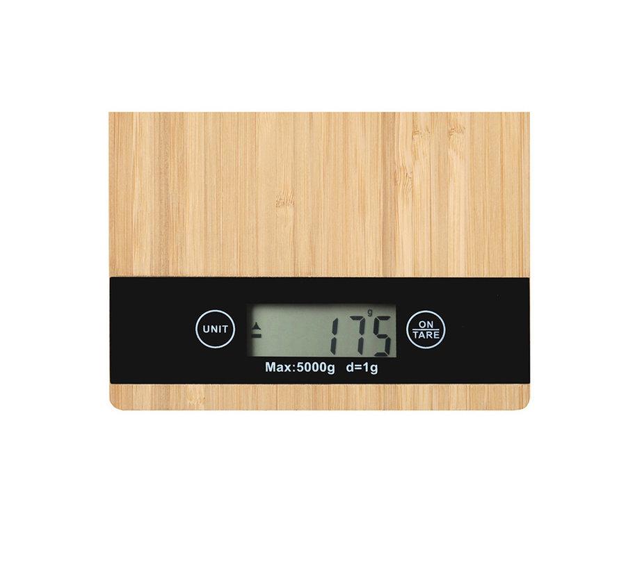 Bamboe LCD digitaal keukenweegschaal tot 5 kg - inclusief 2 x AAA  batterij