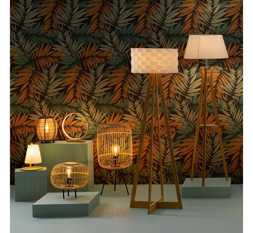 Atmosphera - Ronde Bamboe LED lamp 32 cm - Beige