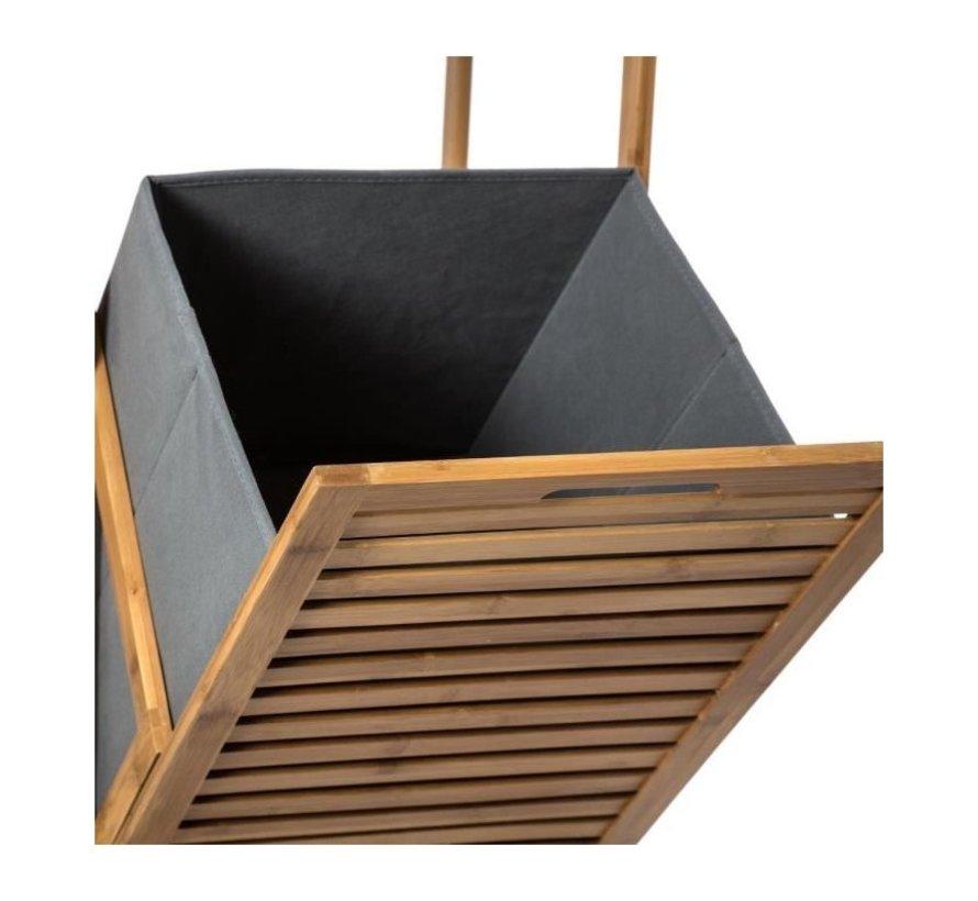Bamboe Badkamerkast Met Geïntegreerde Wasmand  - L 35 x B 32x H 118 cm  - Five