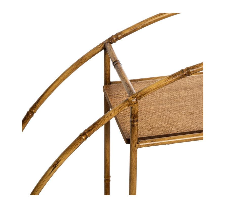 Asco ronde wandplank in metaal en hout - Naturel - L. 77 x l. 18 x H. 77 cm