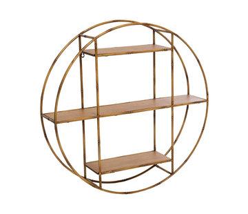 Wandplanken Asco ronde wandplank in metaal en hout - Naturel - Diameter 77 cm