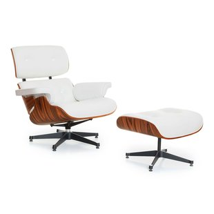 Carl Lounge and Ottoman - Wit