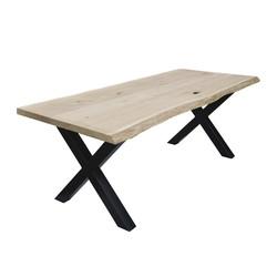 Table en chêne massif et piétement métallique en croix