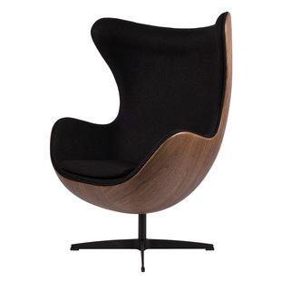 Egg Chair - Zwart / Houtfineer