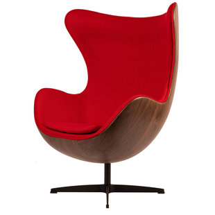 Egg Chair - Rood / Houtfineer