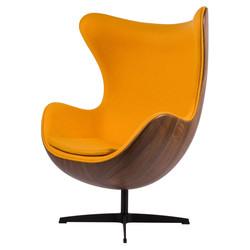 Egg Chair - Okergeel / Houtfineer