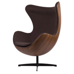 Egg Chair - Gris / Placage de bois