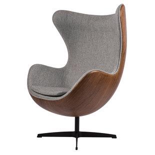 Egg Chair - Lichtgrijs / Houtfineer