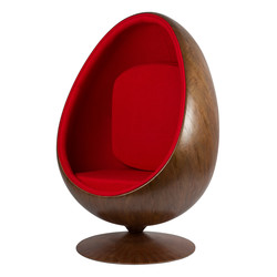 Cocoon Chair - Rood / Houtfineer