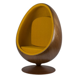 Cocoon Chair - Jaune / Placage de bois