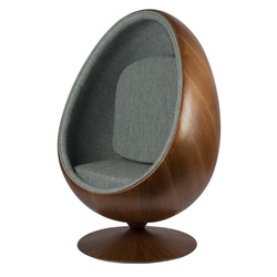 Cocoon Chair - Grijs / Houtfineer