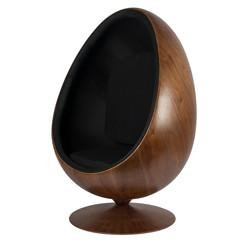 Cocoon Chair - Zwart / Houtfineer