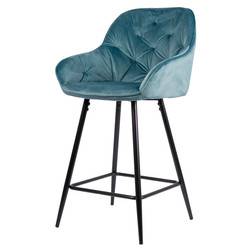 Tabouret De Bar Breaze - Bleu | Velours