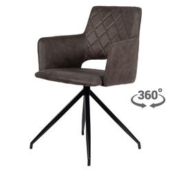 Eileen Chaise - Gris | Microfibre | Chaise pivotante à 360°