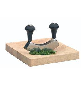 Kitchencraft Roestvrijstaal wiegenmes  met houten plank