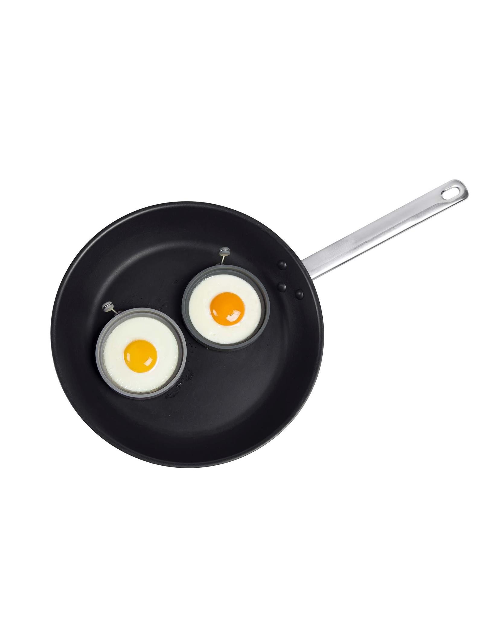 Lurch Set van 2 eibakringen uit silicone cirkel grijs en zwart