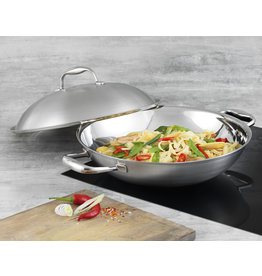 Kuhn Rikon High Dome Wok rvs multiply 32 cm, 2 tegengrepen