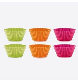 Lékué set van 6 geribde muffinvormen uit silicone 6 stuk oranje, roze en groen Ø 7cm H 3.5cm