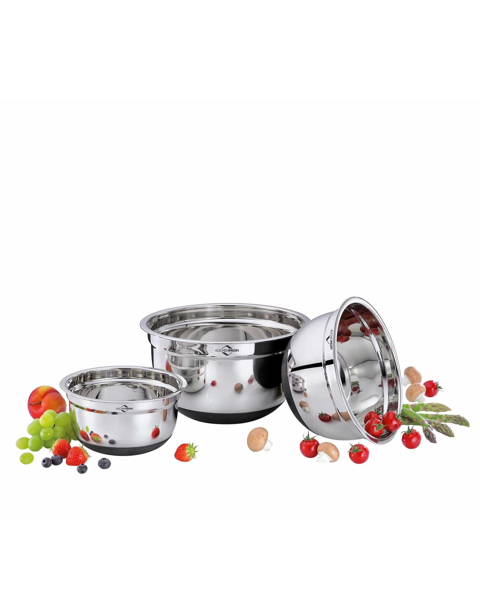 Küchenprofi Mengkommen set rvs met antislip bodem, 3-delig 16cm, 20cm en 24cm