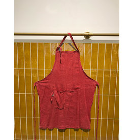 Schort 100% linnen rood