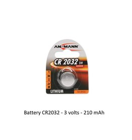Battery CR2032 - 3 volts - 210 mAh
