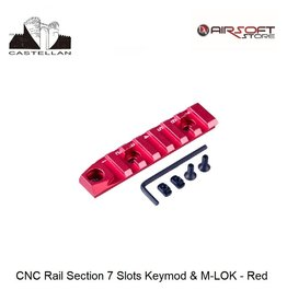 Castellan CNC Rail Section 7 Slots Keymod & M-LOK - Red