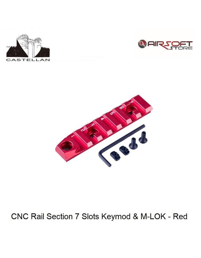 Castellan CNC Rail Section 7 Slots Keymod & M-LOK - Red