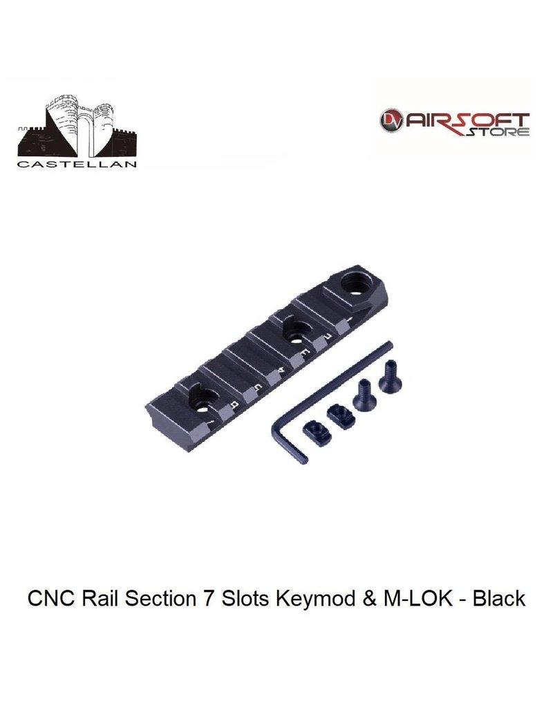 Castellan CNC Rail Section 7 Slots Keymod & M-LOK - Black
