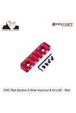Castellan CNC Rail Section 6 Slots Keymod & M-LOK - Red