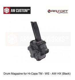 Armorer Works Drum Magazine for Hi-Capa TM - WE - AW HX (Black)