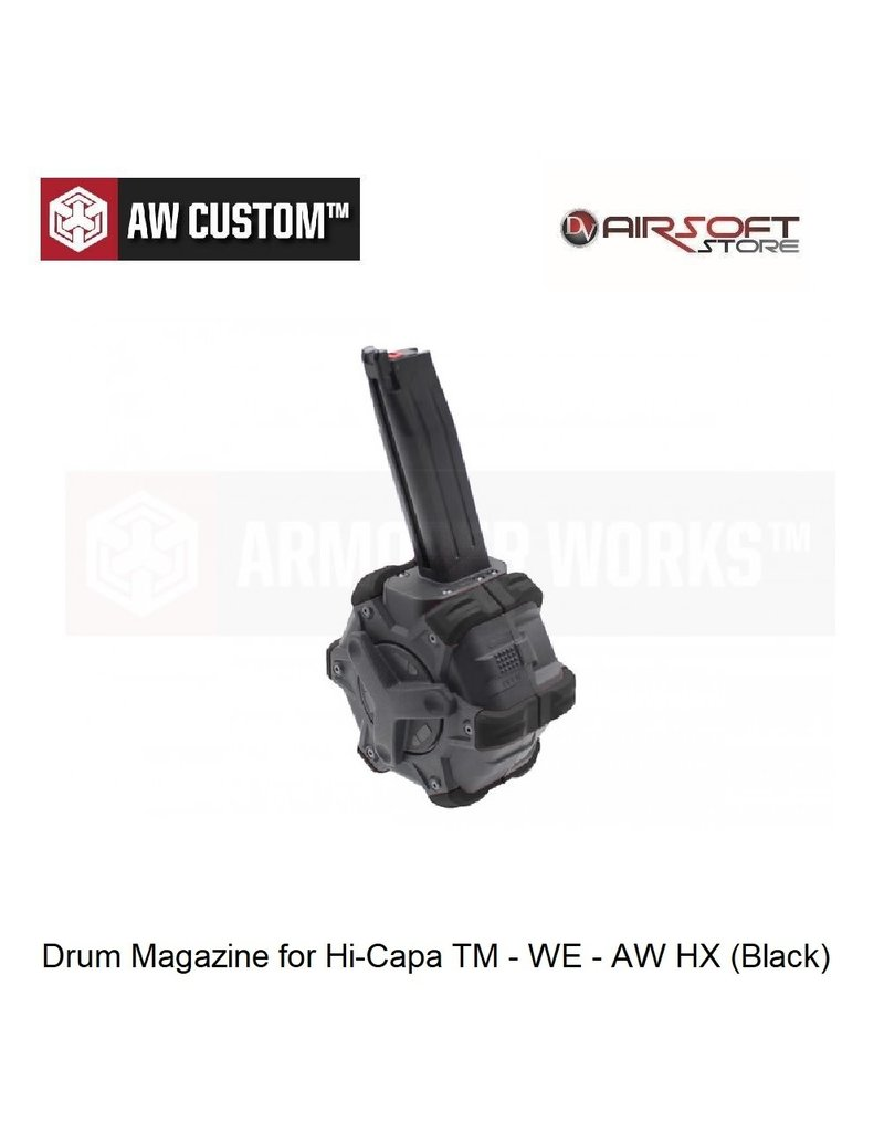 Armorer Works Drum Magazine for Hi-Capa TM - WE - AW HX (Black)