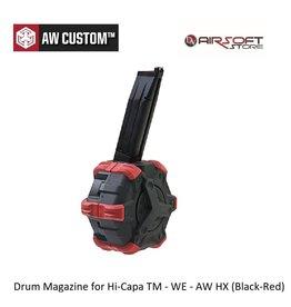 Armorer Works Drum Magazine for Hi-Capa TM - WE - AW HX (Black-Red)
