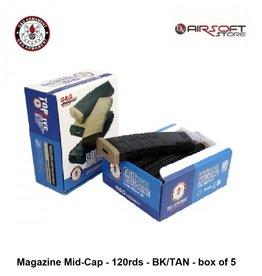 G&G Magazine Mid-Cap - 120rds - BK/TAN - box of 5