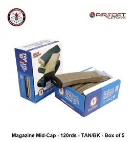 G&G Magazine Mid-Cap - 120rds - TAN/BK - Box of 5