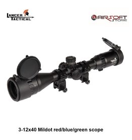Lancer Tactical 3-12x40 Mildot red/blue/green scope