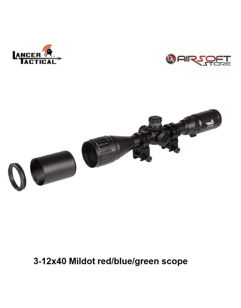 Lancer Tactical 3-12x40 Mildot red/blue/green scope