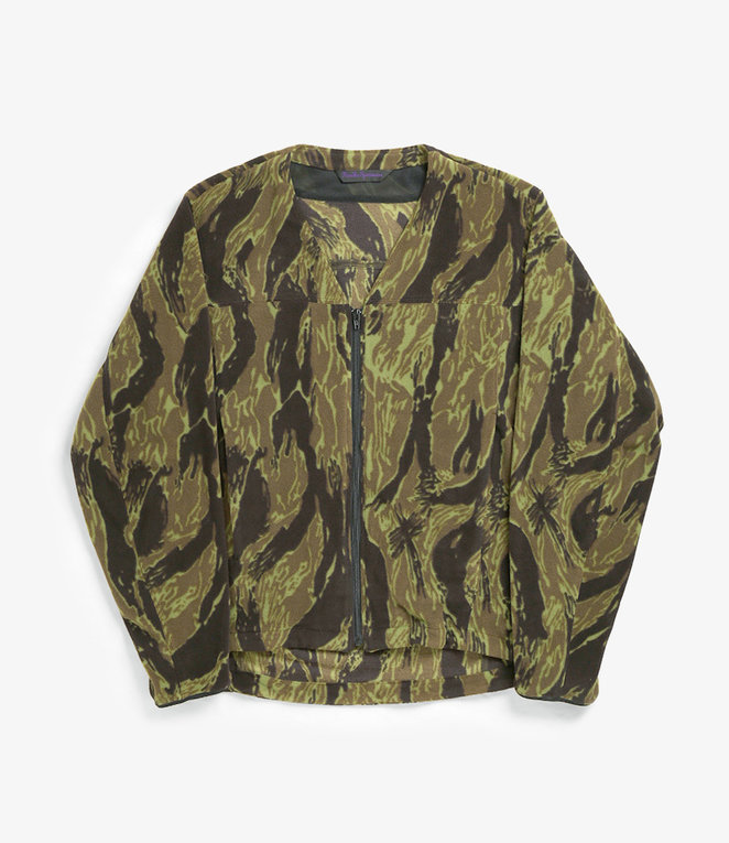 Needles Warm-up V Neck Jacket - Poly Fleece / Tiger Camo Stripe