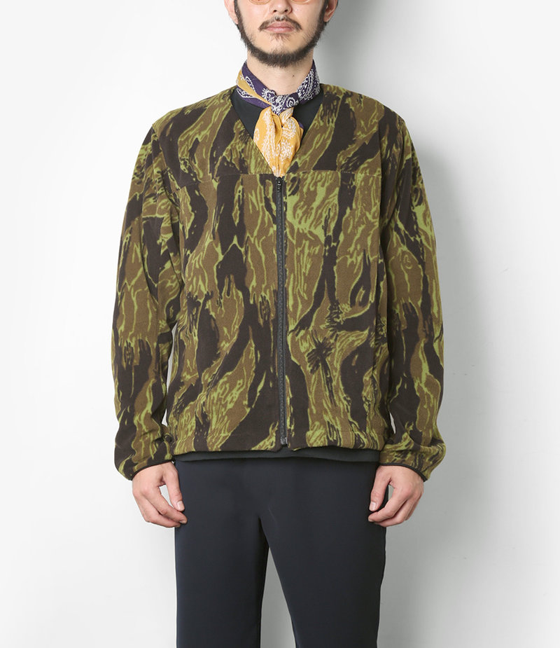 Needles Warm-up V Neck Jacket - Poly Fleece / Tiger Camo Stripe