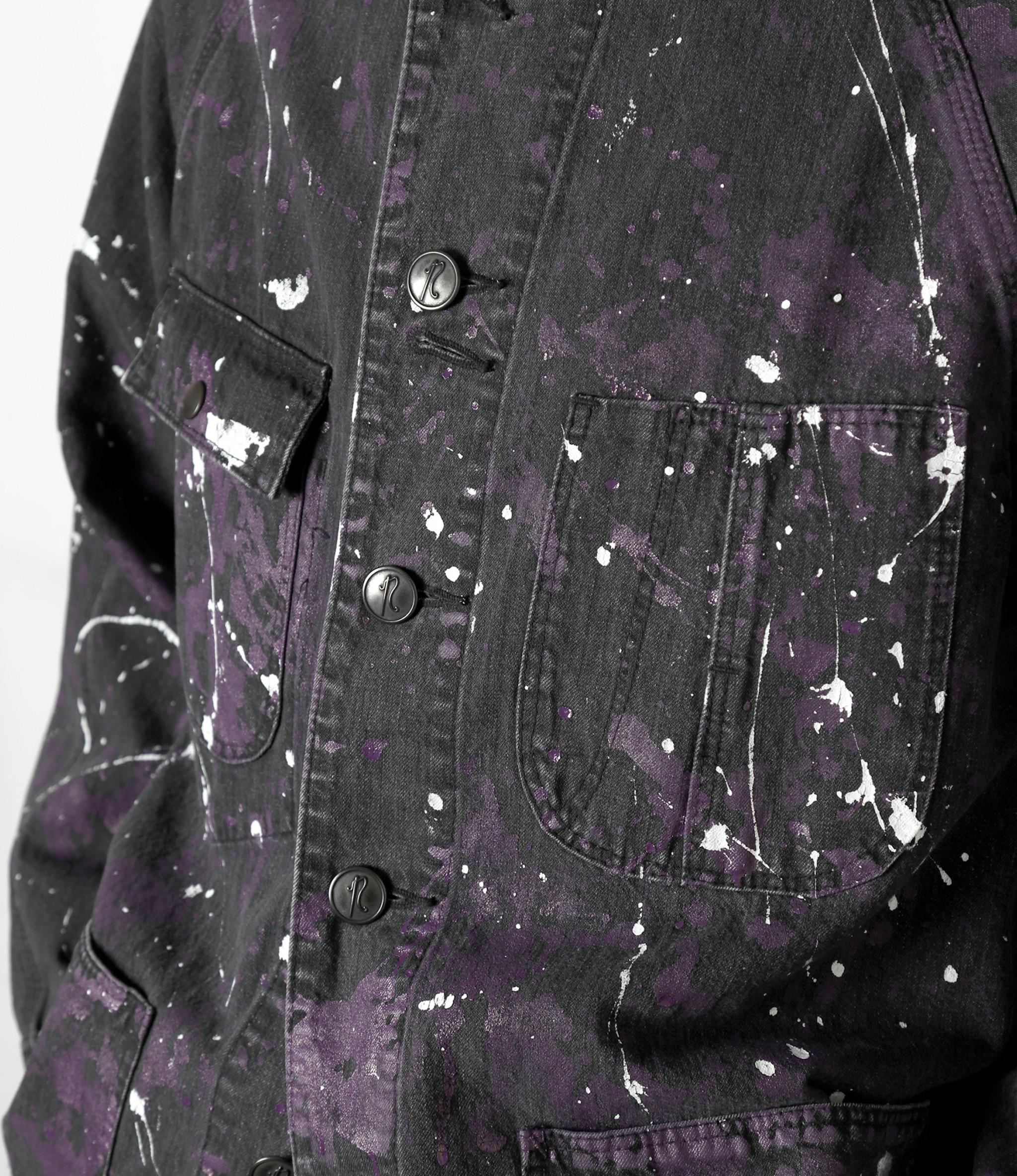 Needles Chore Coat - 10oz Denim / Paint - Black