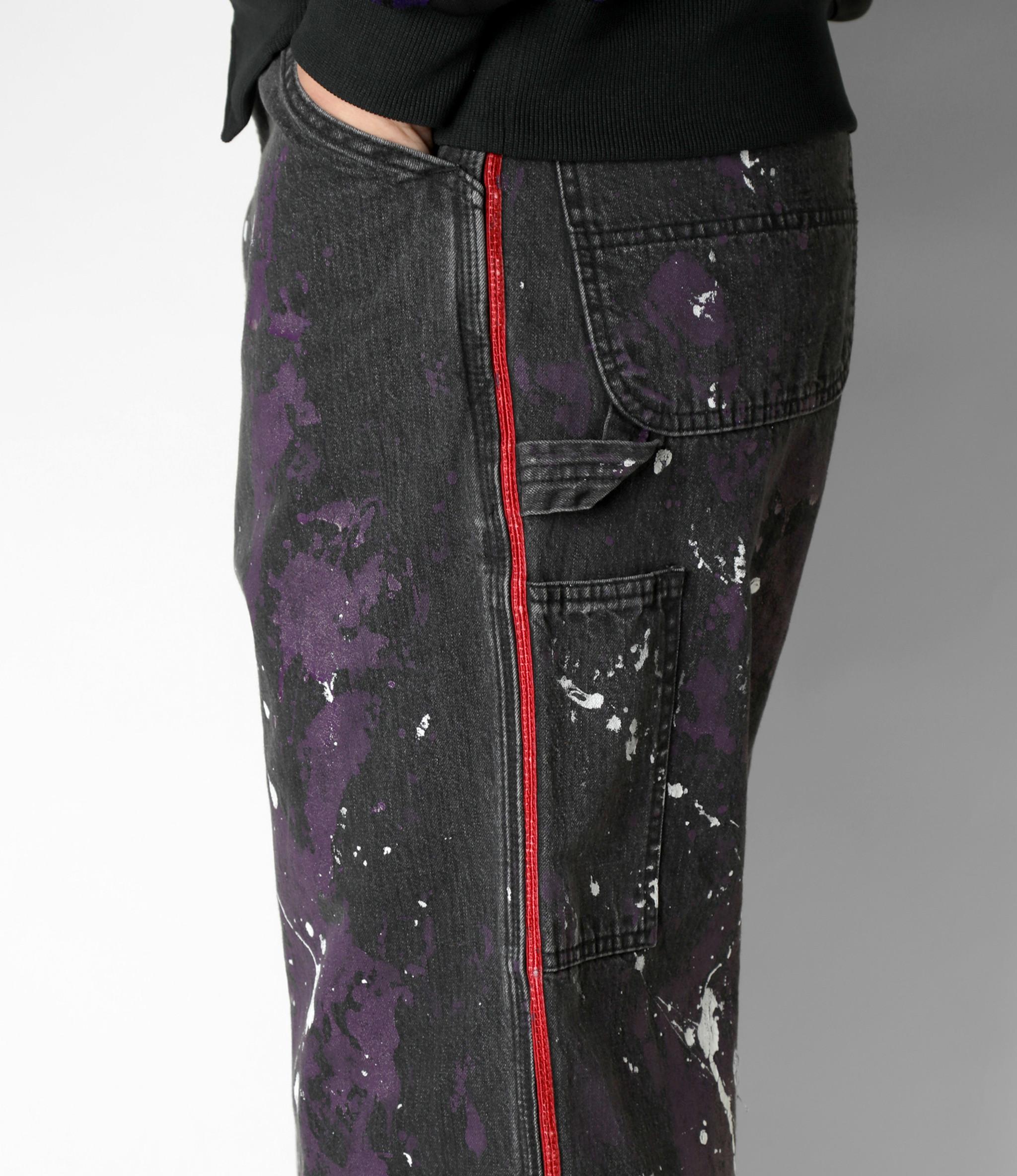 Needles Side Line Painter Pant - 10oz Denim / Paint - Black