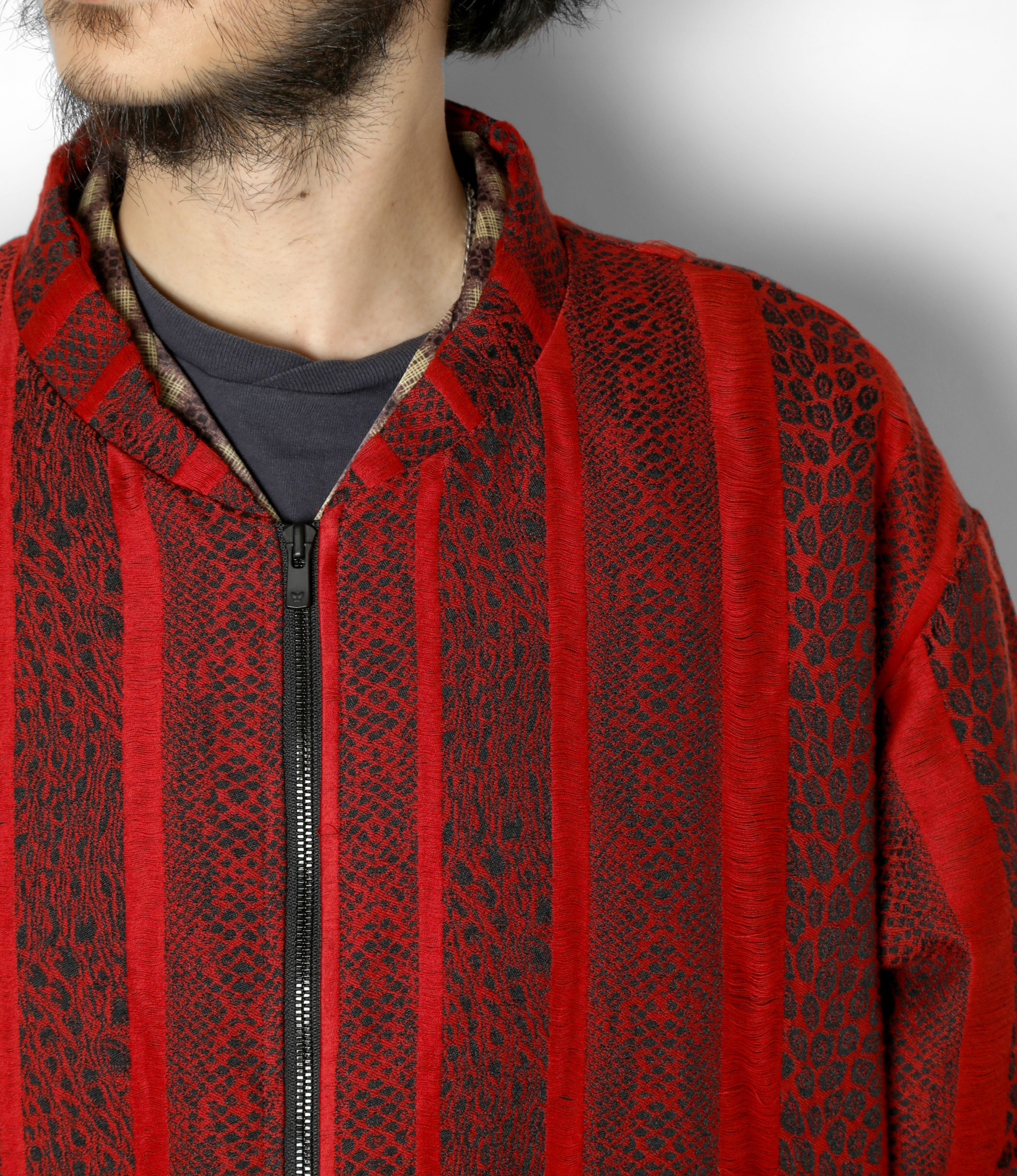 Needles Stand Collar Sur Coat - Pe/C Jacquard / Python - Red
