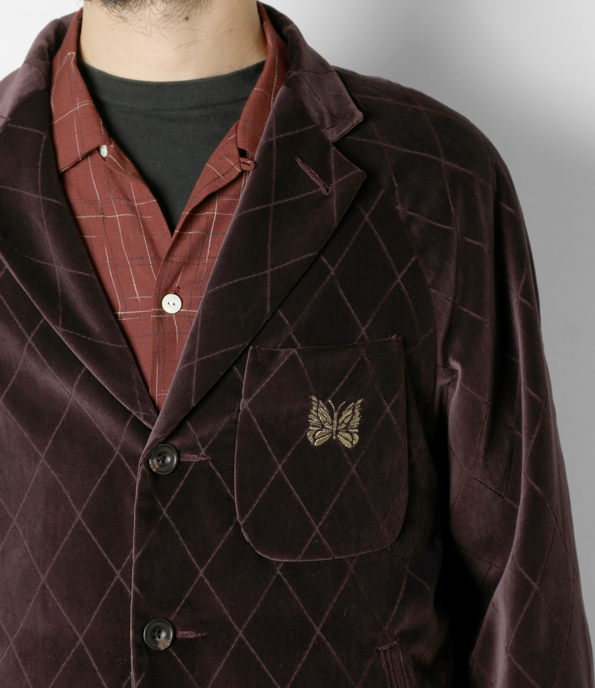 Needles Raglan Jacket - Pe/C Velvet / Opal Finished - Bordeaux