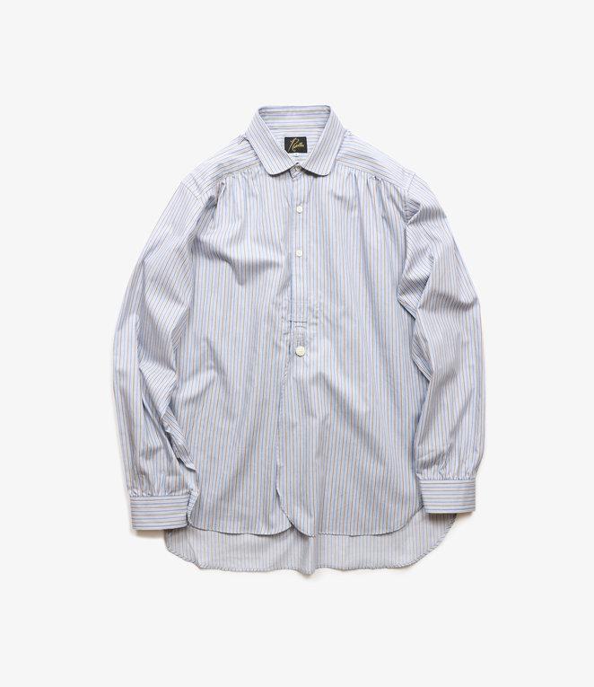 Needles Round Collar EDW Gather Shirt - Regimental Stripe - Sax