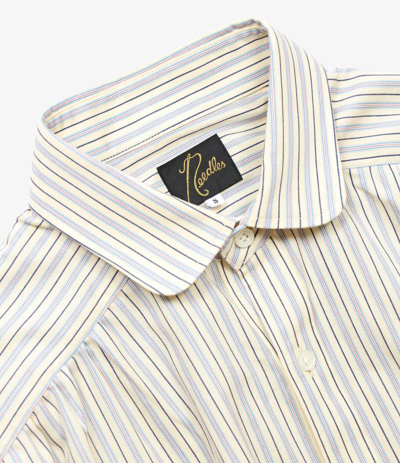 Needles Round Collar EDW Gather Shirt - Regimental Stripe - Off White