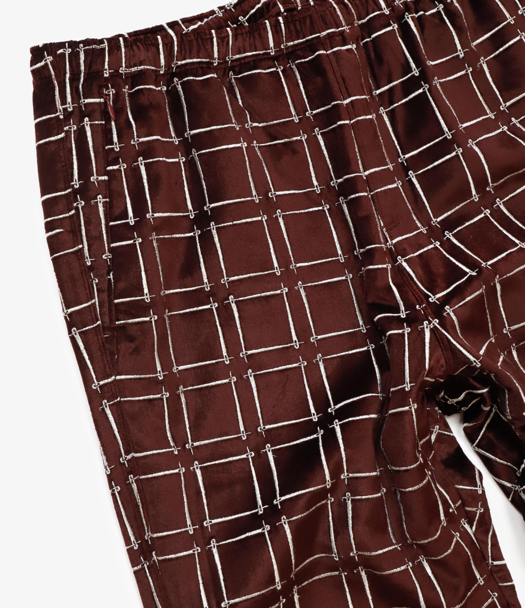Needles Warm-Up Boot-Cut Pant -  Needles Emb. C/R Velvet - Bordeaux