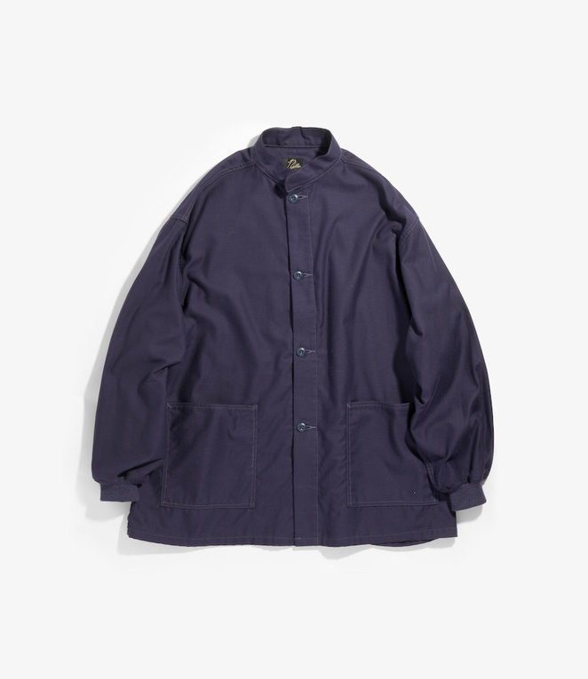 Needles Stand Collar Army Shirt - Cotton Back Sateen - Navy